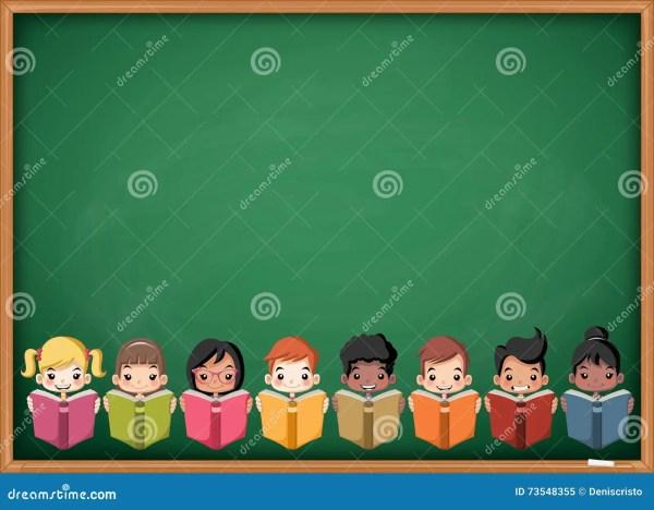 Cartoon Children Reading Books Over Green Chalkboard
