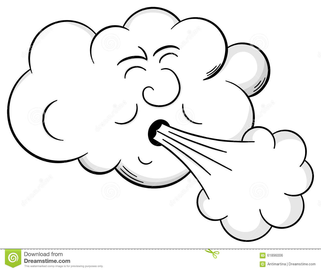 Cartoon Cloud Blows Wind Stock Vector Illustration Of