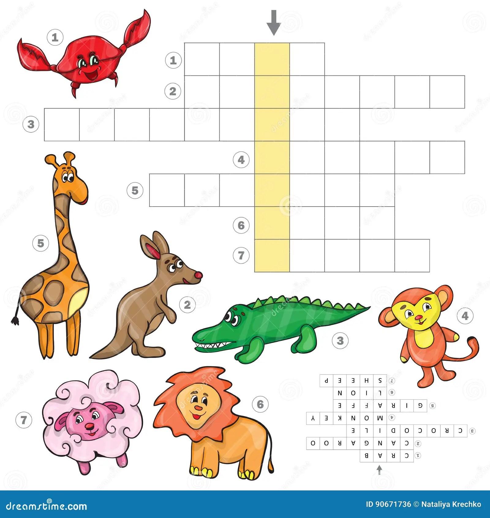 Cartoon Crossword Game With Cute Cartoon African Animals