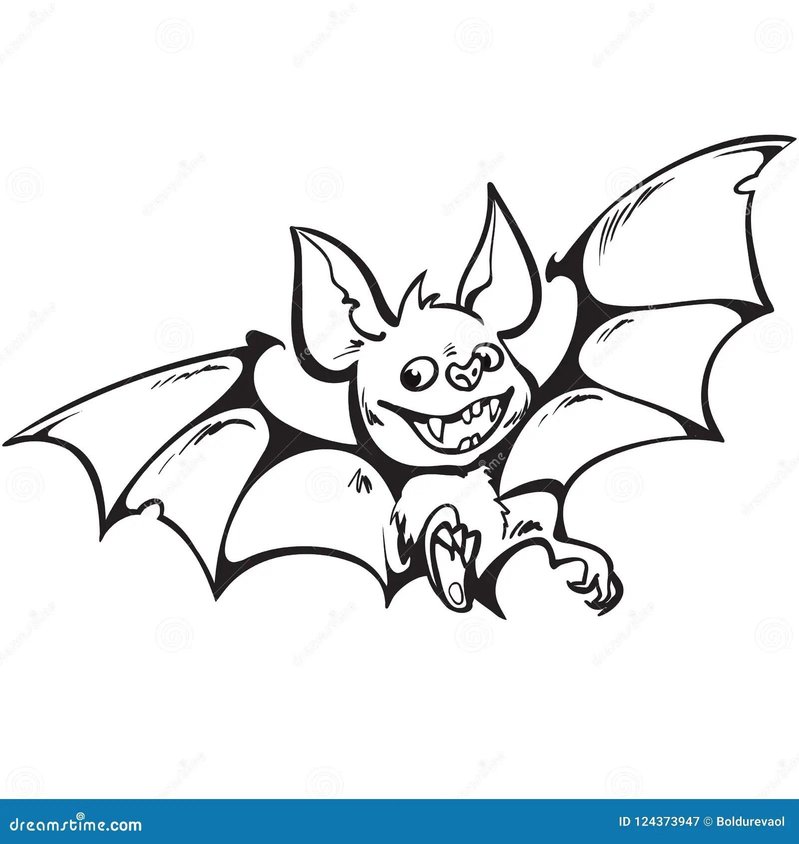 Cartoon Cute Happy Vampire Bat Halloween Character Black
