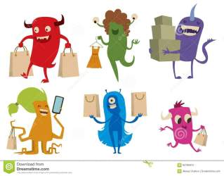shopping cute cartoon vector monsters monster bag shopper characters illustration isolated dreamstime