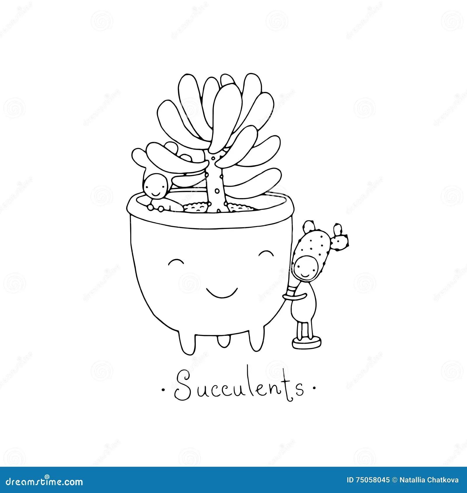Cartoon Cute Succulents In Pot Stock Vector