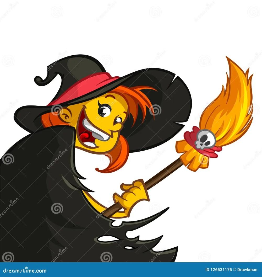 medium resolution of cartoon cute witch with broom halloween clipart