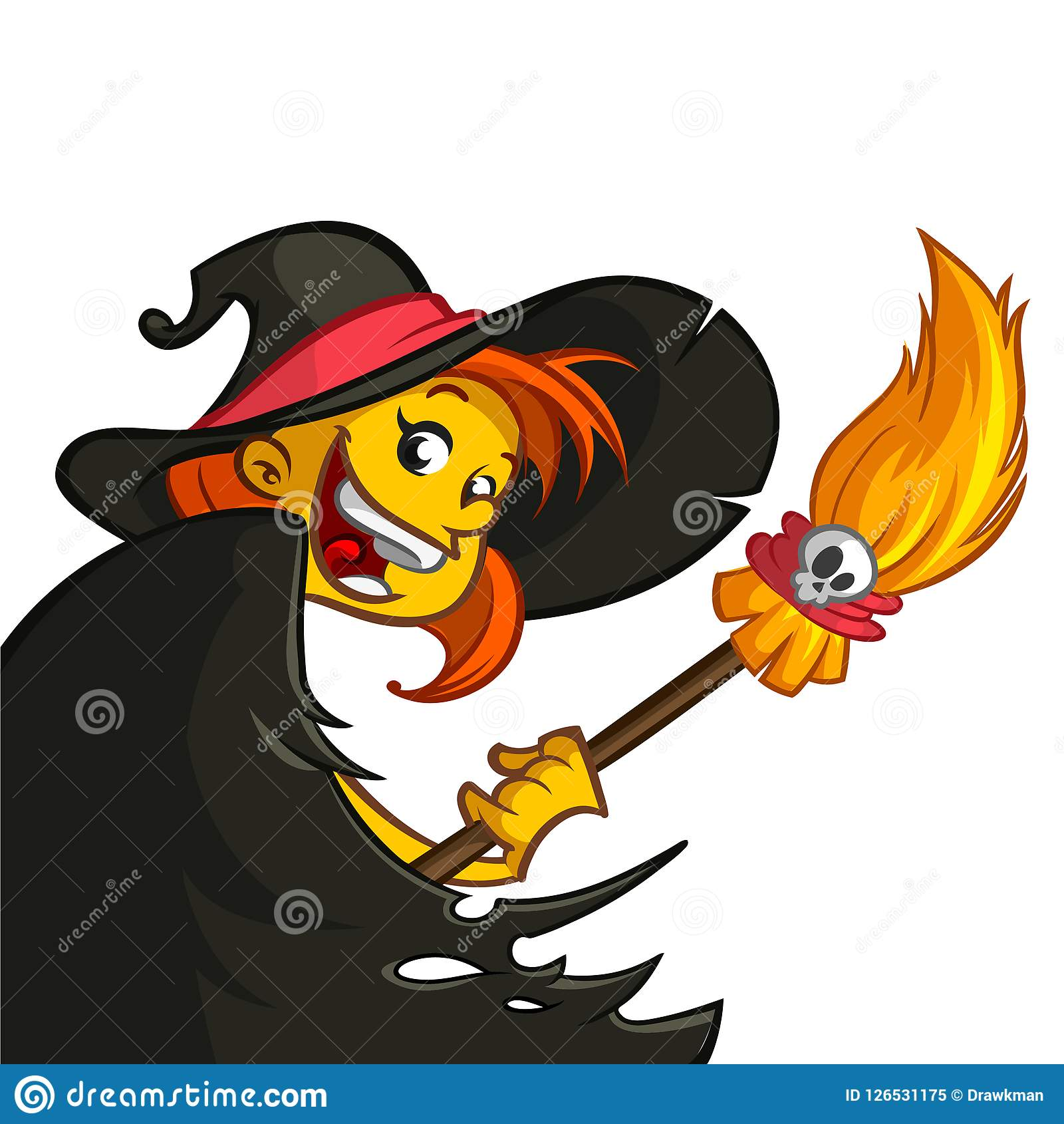 hight resolution of cartoon cute witch with broom halloween clipart