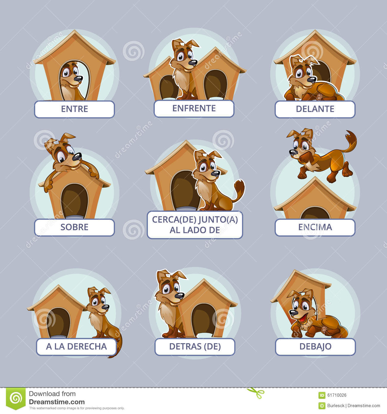 Cartoon Dog In Different Poses To Illustrate Stock Vector