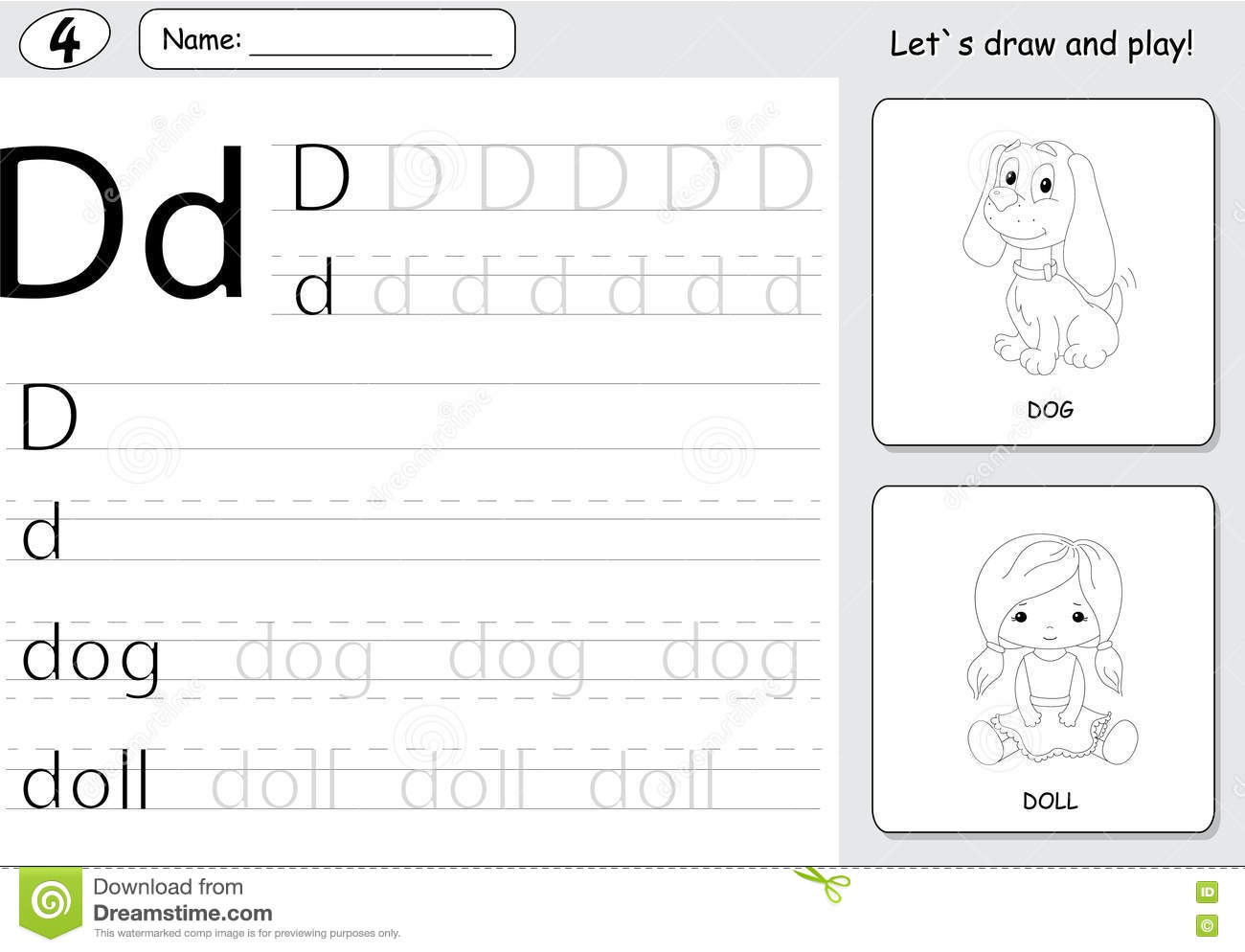 Cartoon Dog And Doll Alphabet Tracing Worksheet Writing A Z An Stock Vector