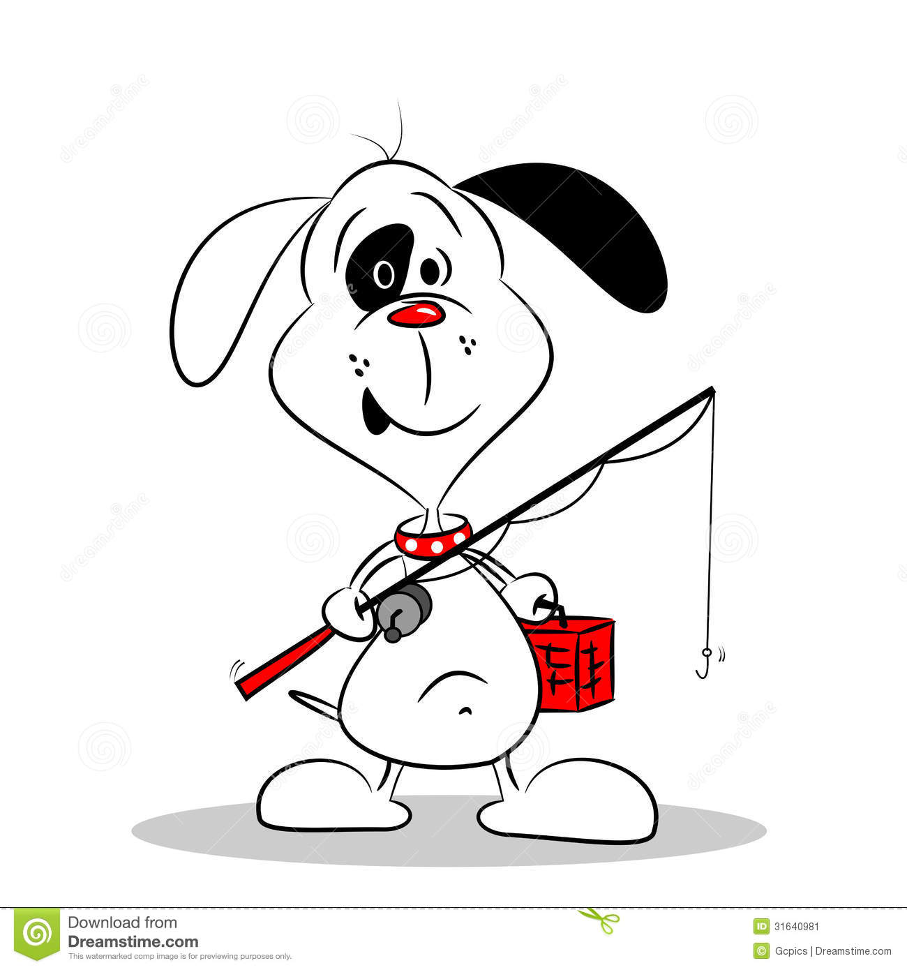 Cartoon Dog Going Fishing Stock Image