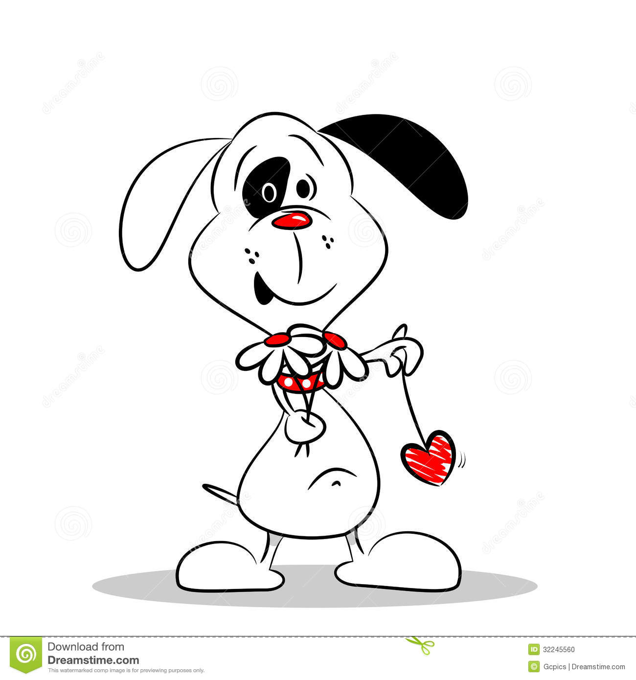 A Cartoon Dog Holding Flowers And A Love Heart Stock