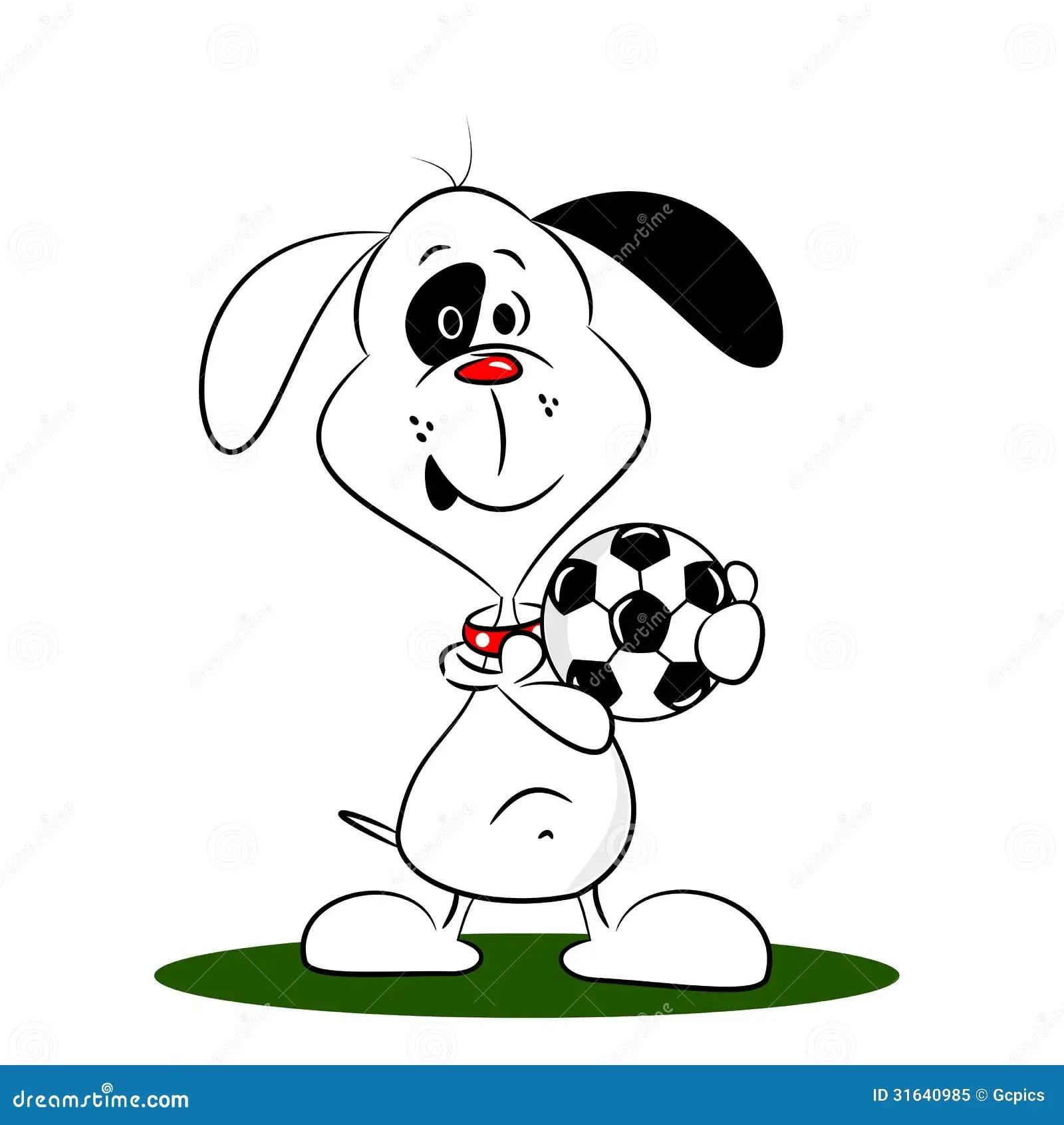 A Cartoon Dog Holding A Football Royalty Free Stock Photo
