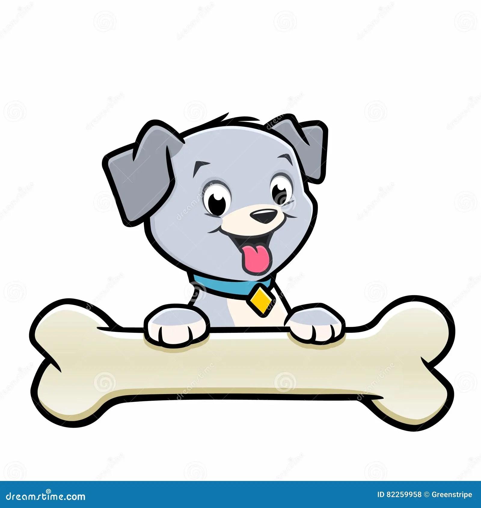 cartoon dog puppy bone