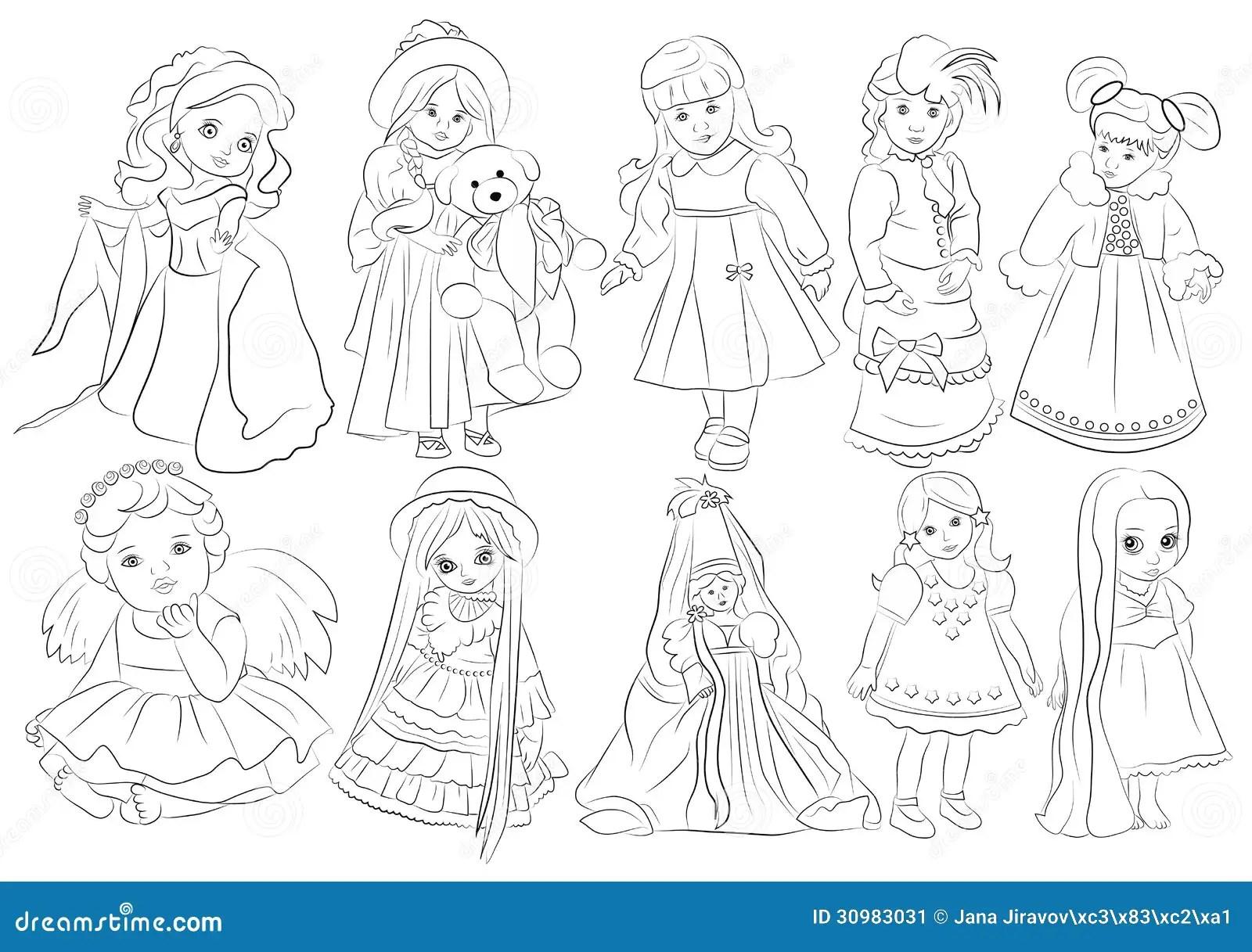 Cartoon Dolls Coloring Book Stock Image