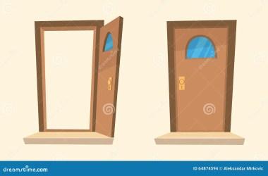 cartoon open doors door fumetto closed porte vector tueren karikatur