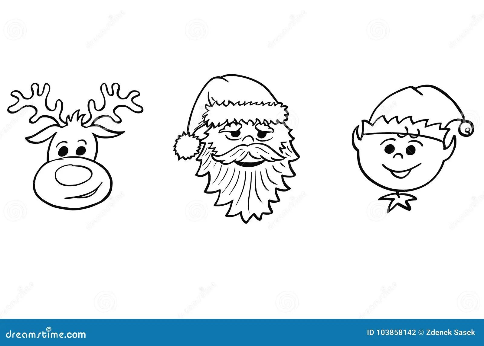 Christmas Set Of Santa Claus Elf And Rudolf The Reindeer