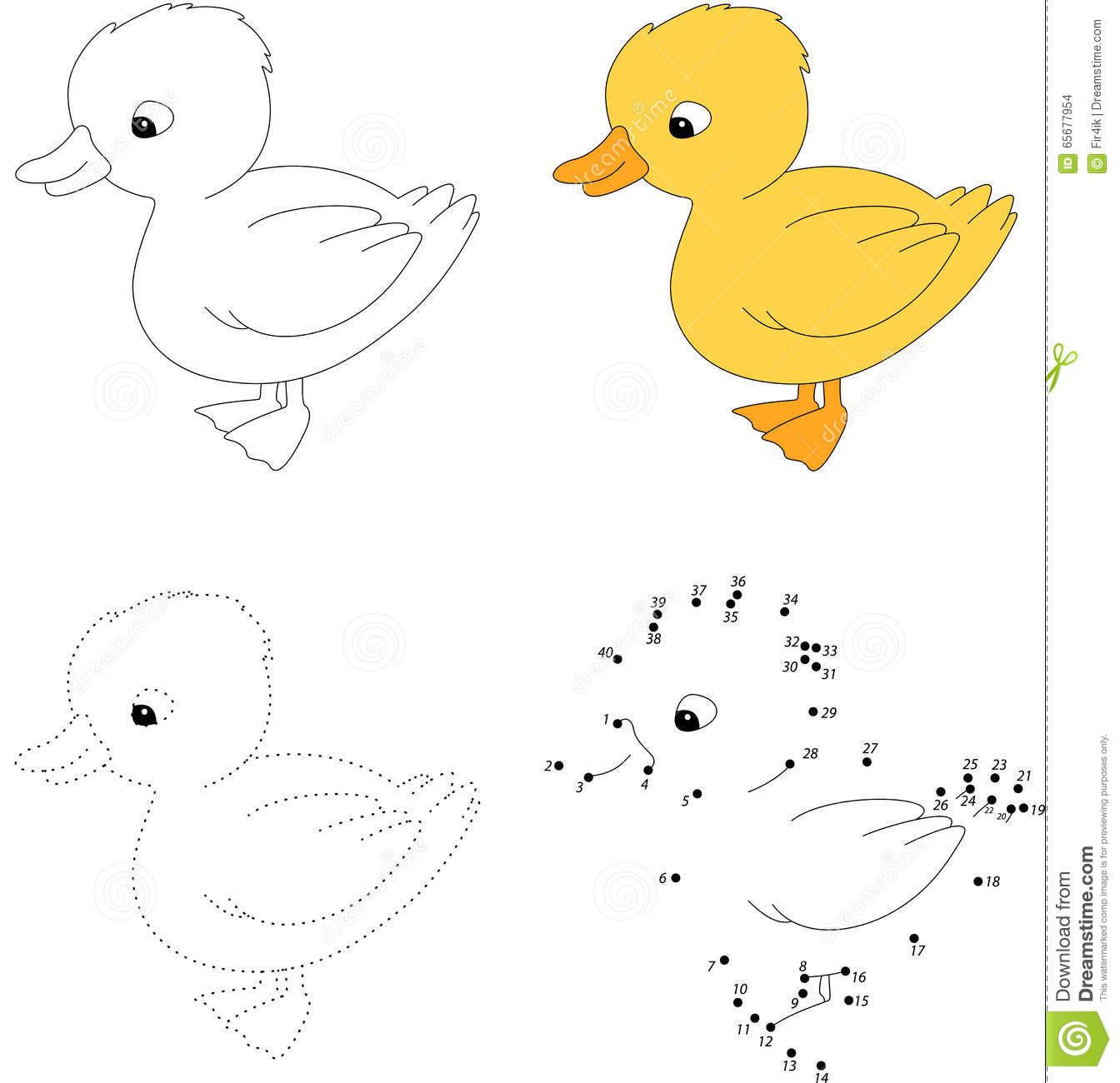 Cartoon Duckling Vector Illustration Dot To Dot Game For
