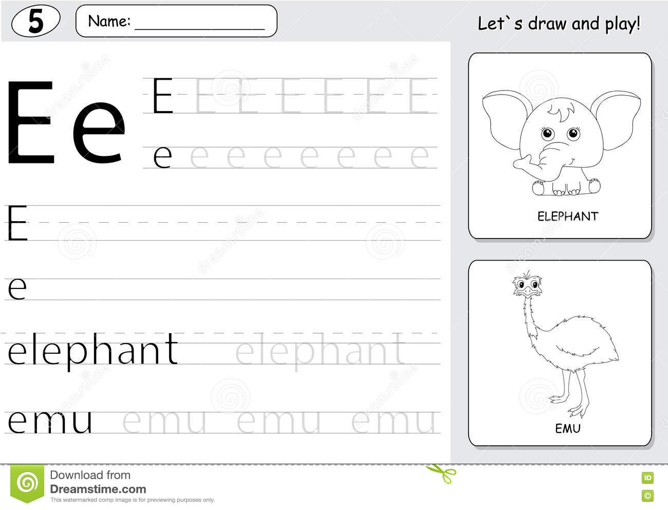 Cartoon Elephant And Emu Alphabet Tracing Worksheet