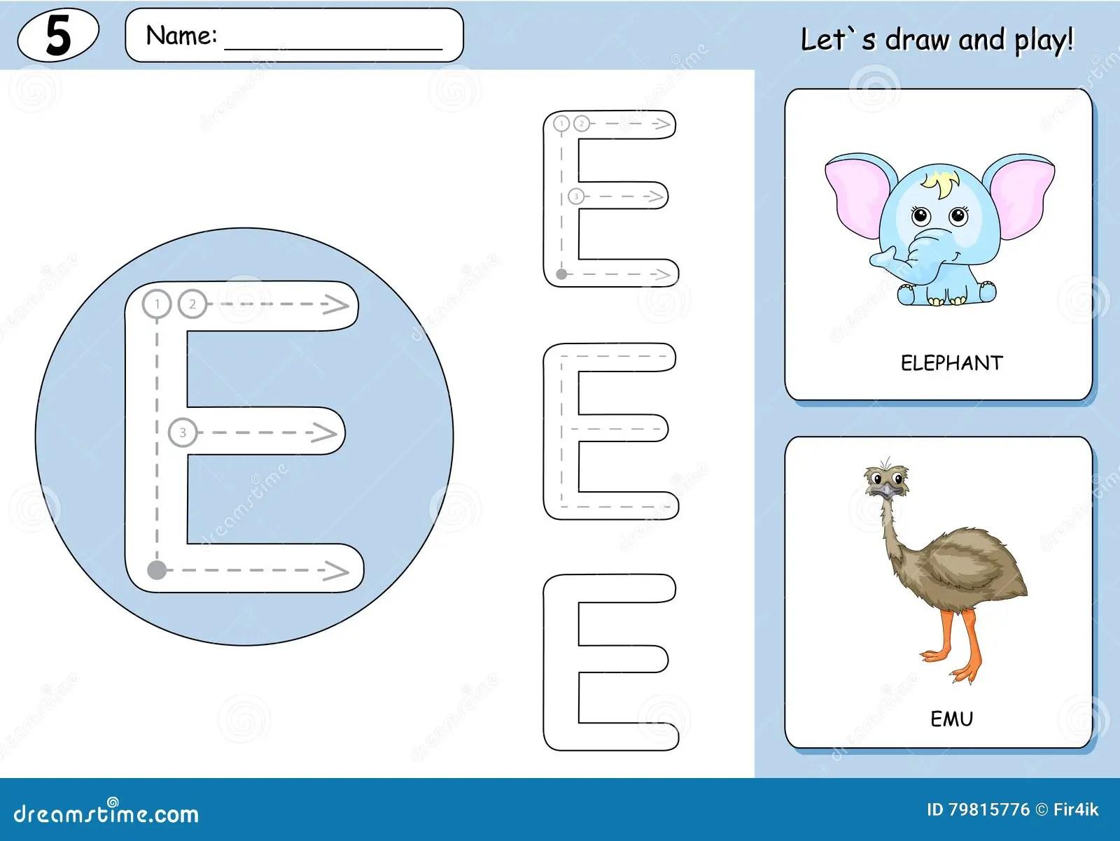 Cartoon Elephant And Emu Alphabet Tracing Worksheet Stock