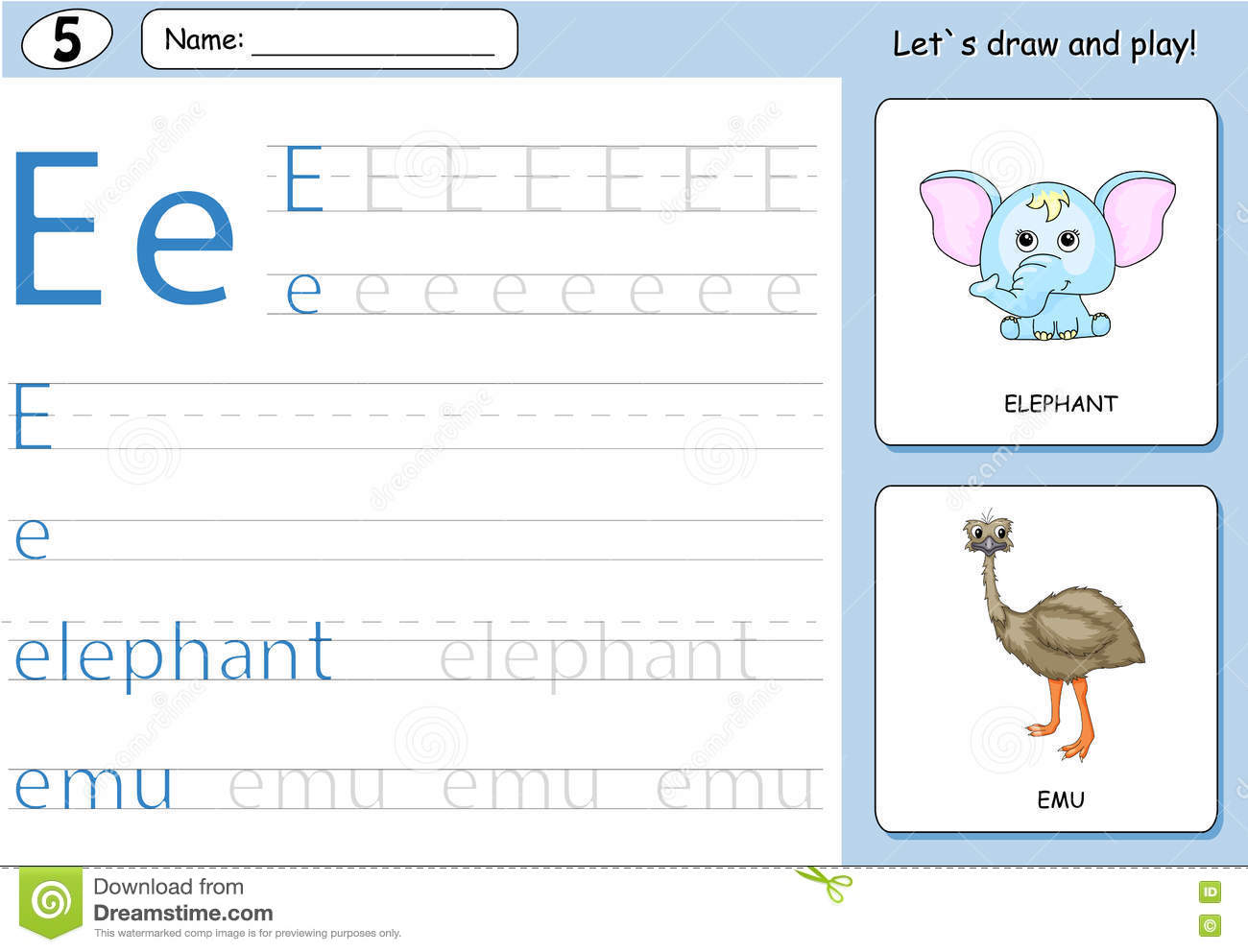 Cartoon Elephant And Emu Alphabet Tracing Worksheet Stock