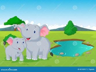 cartoon hole elephant near watering illustration clipart vector clip safari grass illustrations preview