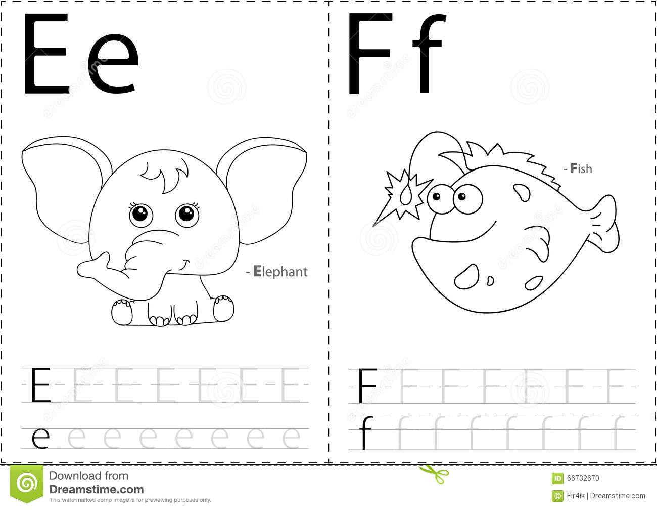 Cartoon Elephant And Fish. Alphabet Tracing Worksheet
