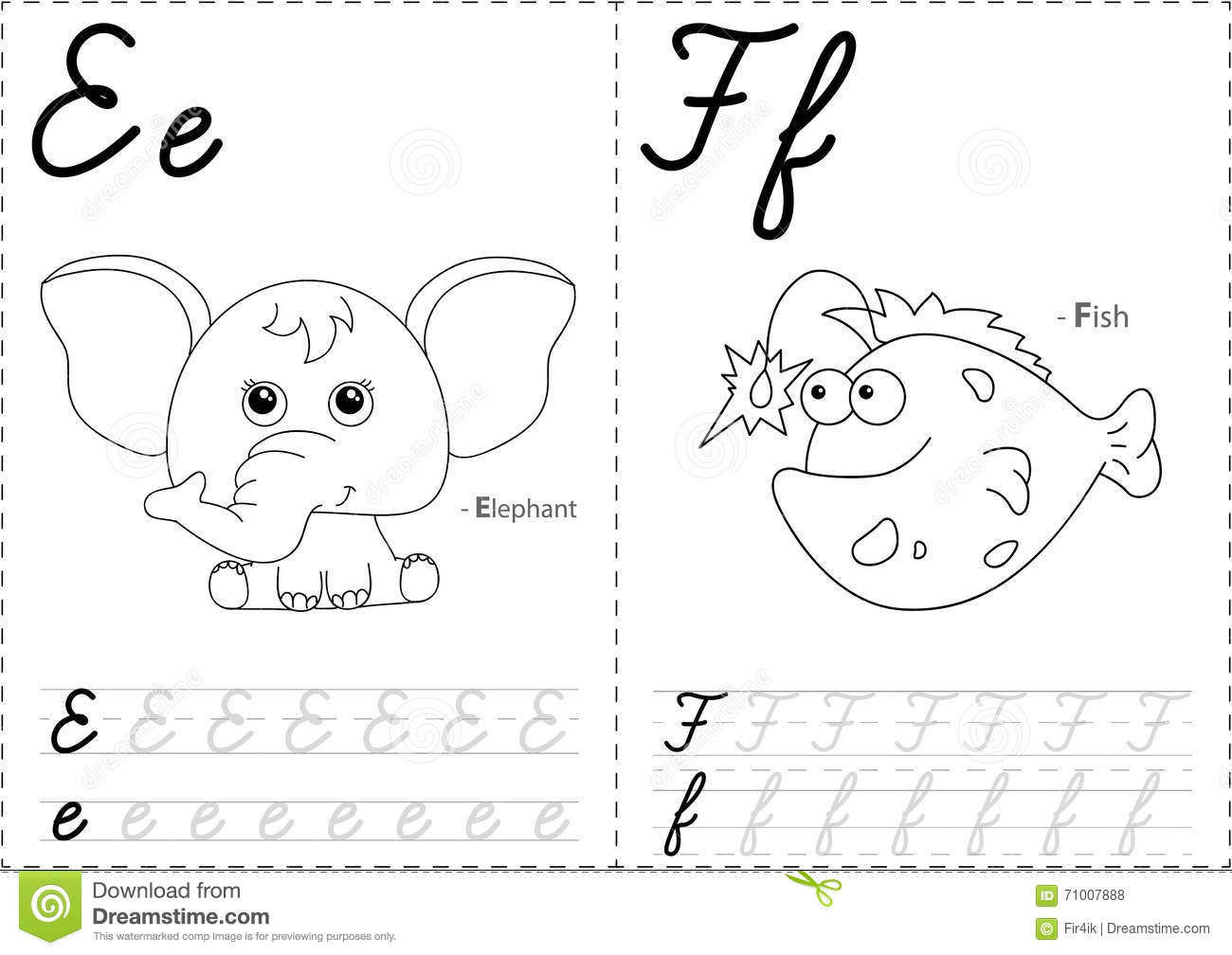 Cartoon Elephant And Fish Alphabet Tracing Worksheet Stock Vector