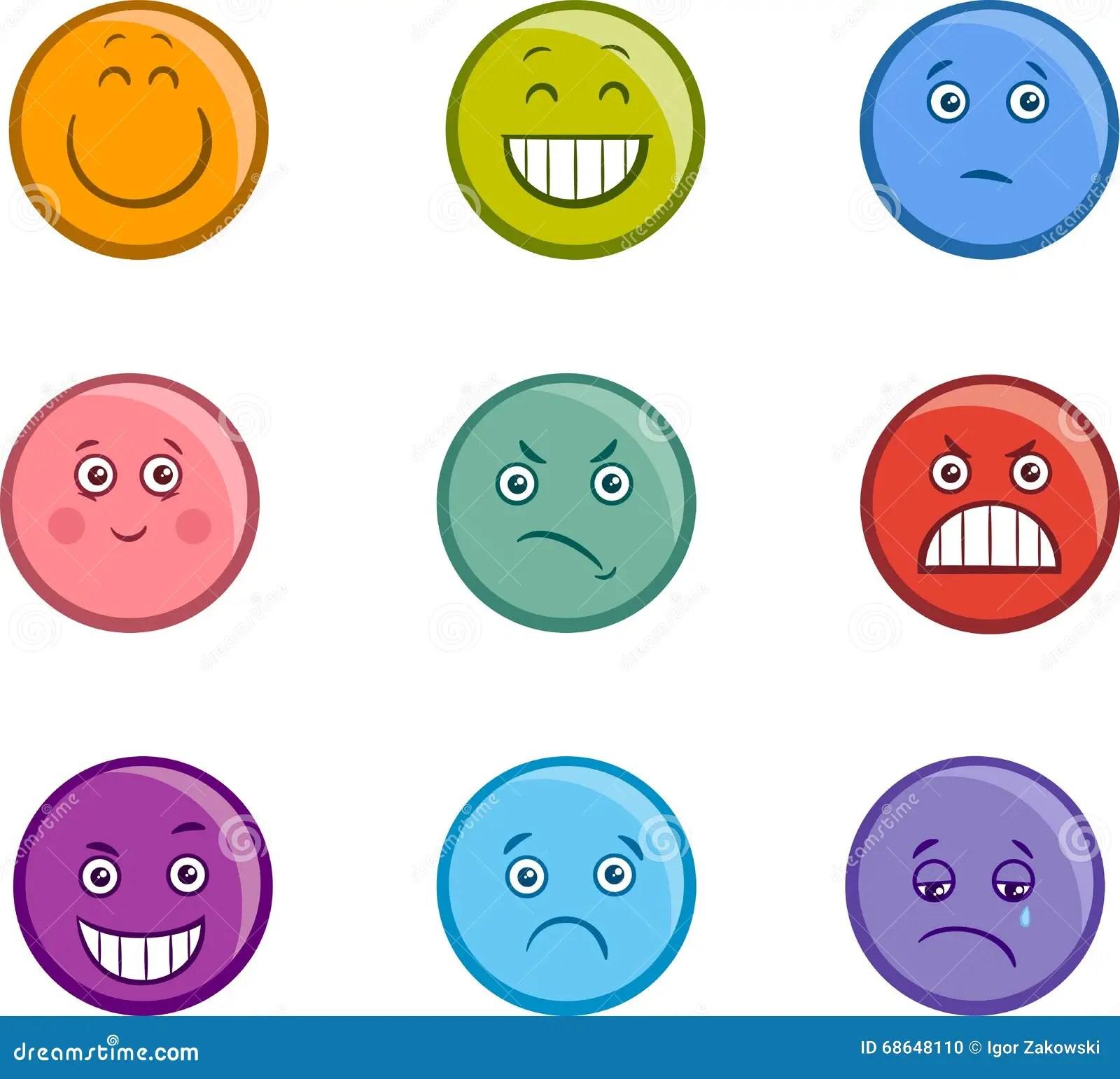 Cartoon Emoticons Faces Set Stock Vector