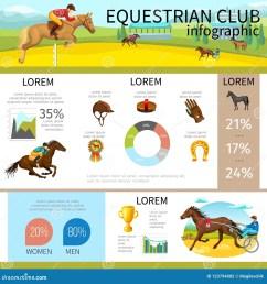 cartoon equestrian club infographic template with jockeys riding horses cap glove horseshoe medal brush diagram graphs vector illustration [ 1300 x 1390 Pixel ]