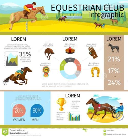 small resolution of cartoon equestrian club infographic template with jockeys riding horses cap glove horseshoe medal brush diagram graphs vector illustration