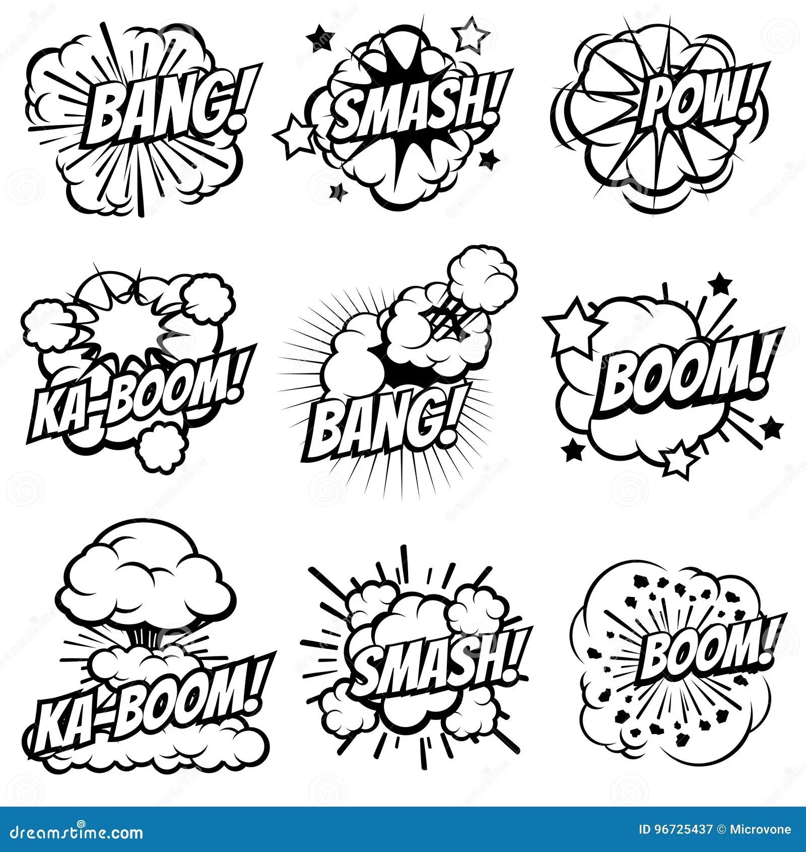 Cartoon Explode Icons. Comic Book Explosion Bubbles. Pop
