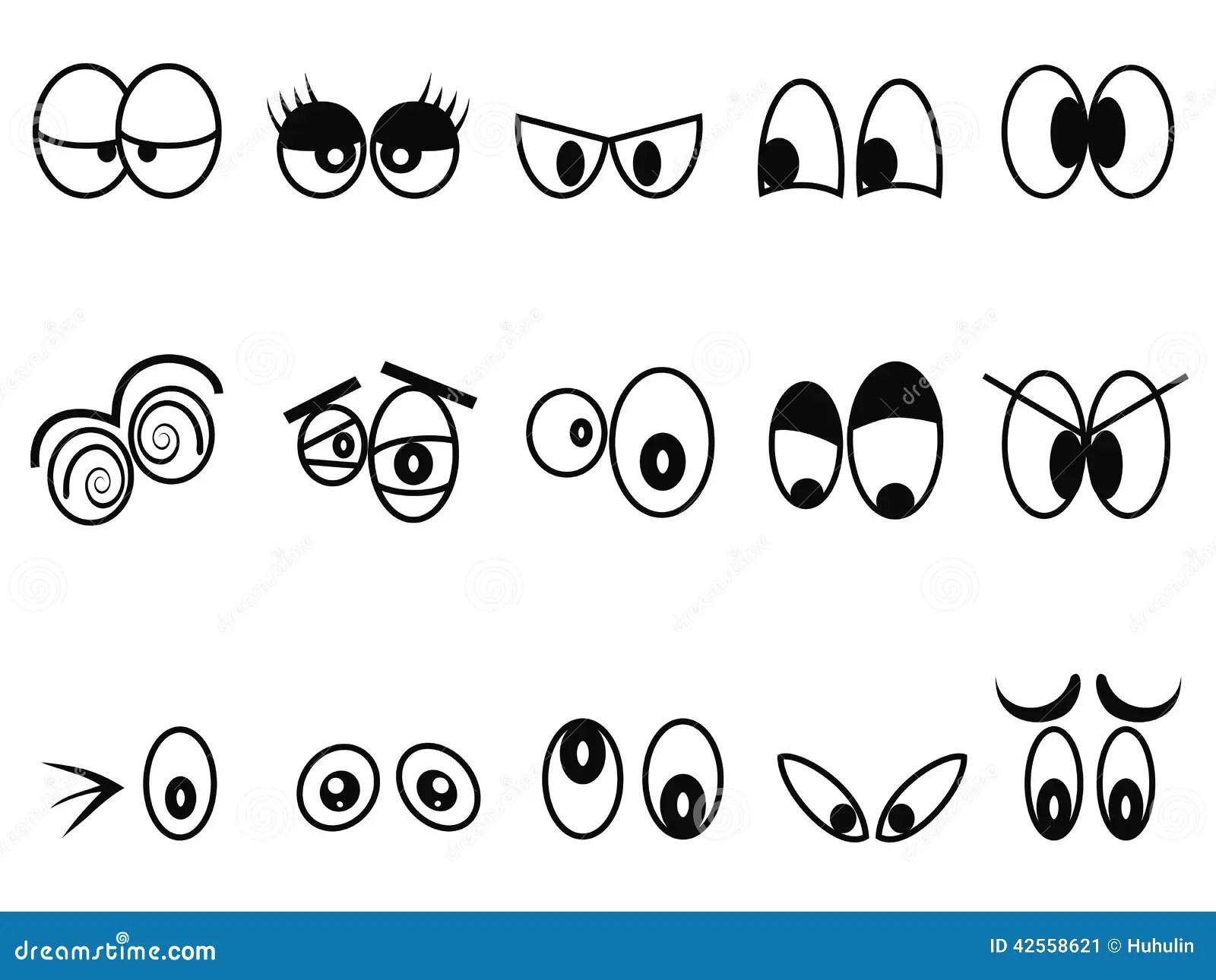 Cartoon Expressional Eyes Icon Set Stock Vector