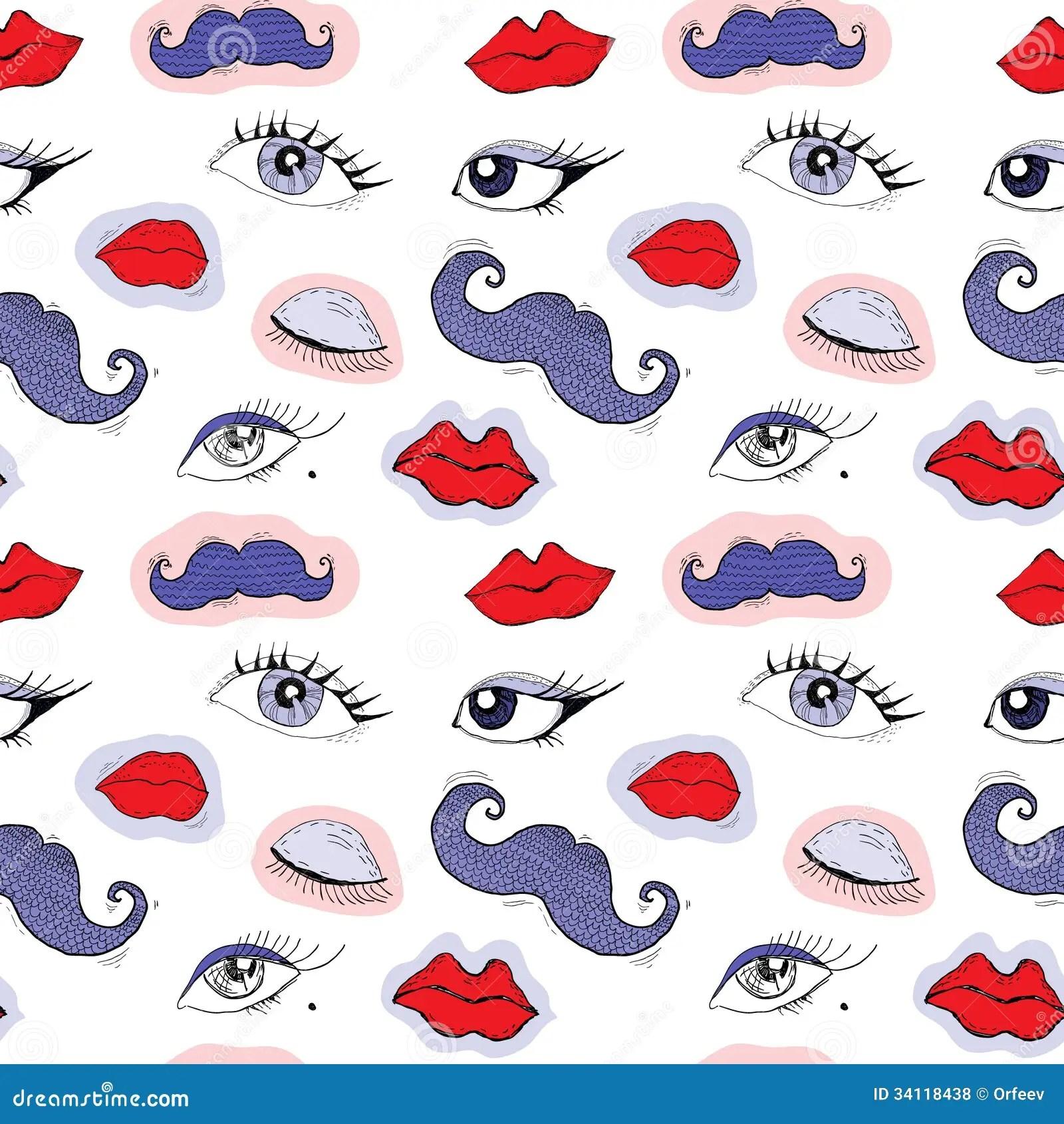 Cartoon Eyes Lips And Mustache Royalty Free Stock Photos
