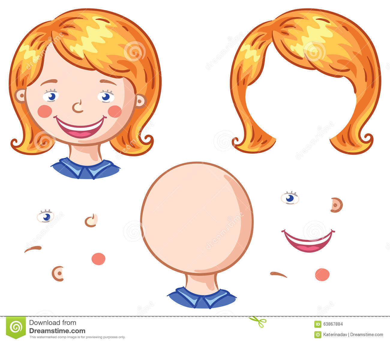 Cartoon Face Parts For Kids To Put Together Stock Vector