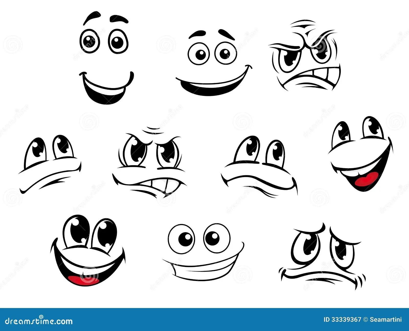 cartoon faces set stock