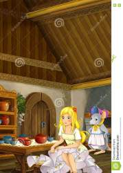 tale fairy kitchen tiny mouse scene cartoon illustration preview