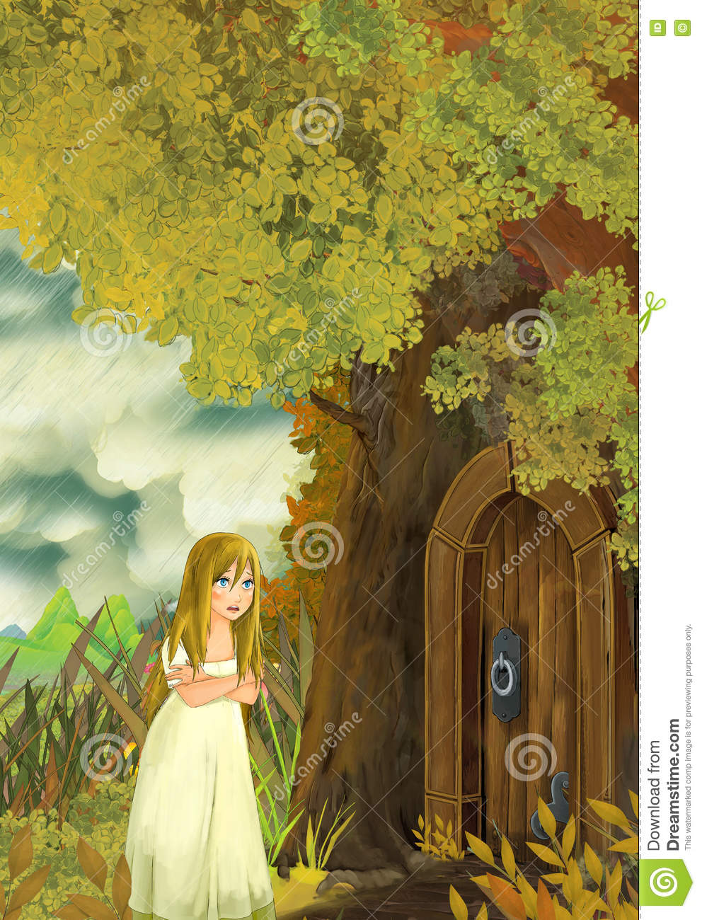Cartoon Fairy Tale Scene With A Young Little Girl Living