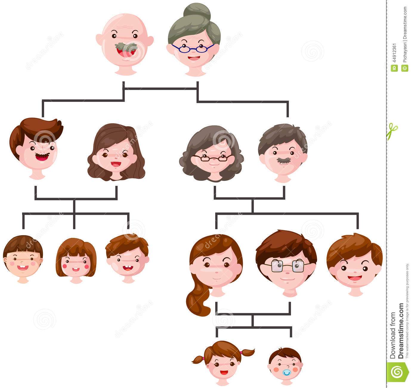 Cartoon Family Tree Stock Vector