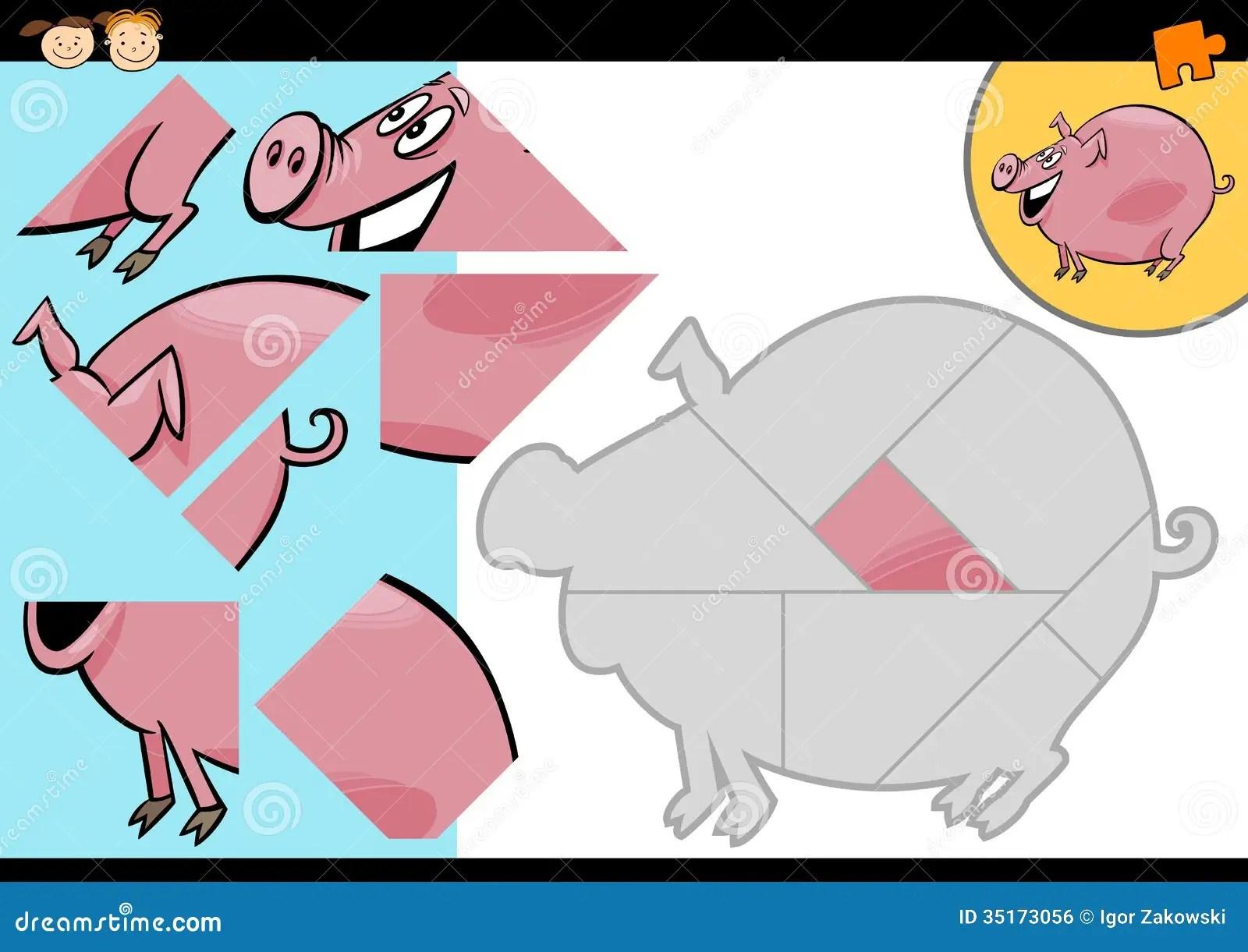 Cartoon Farm Pig Puzzle Game Royalty Free Stock Image