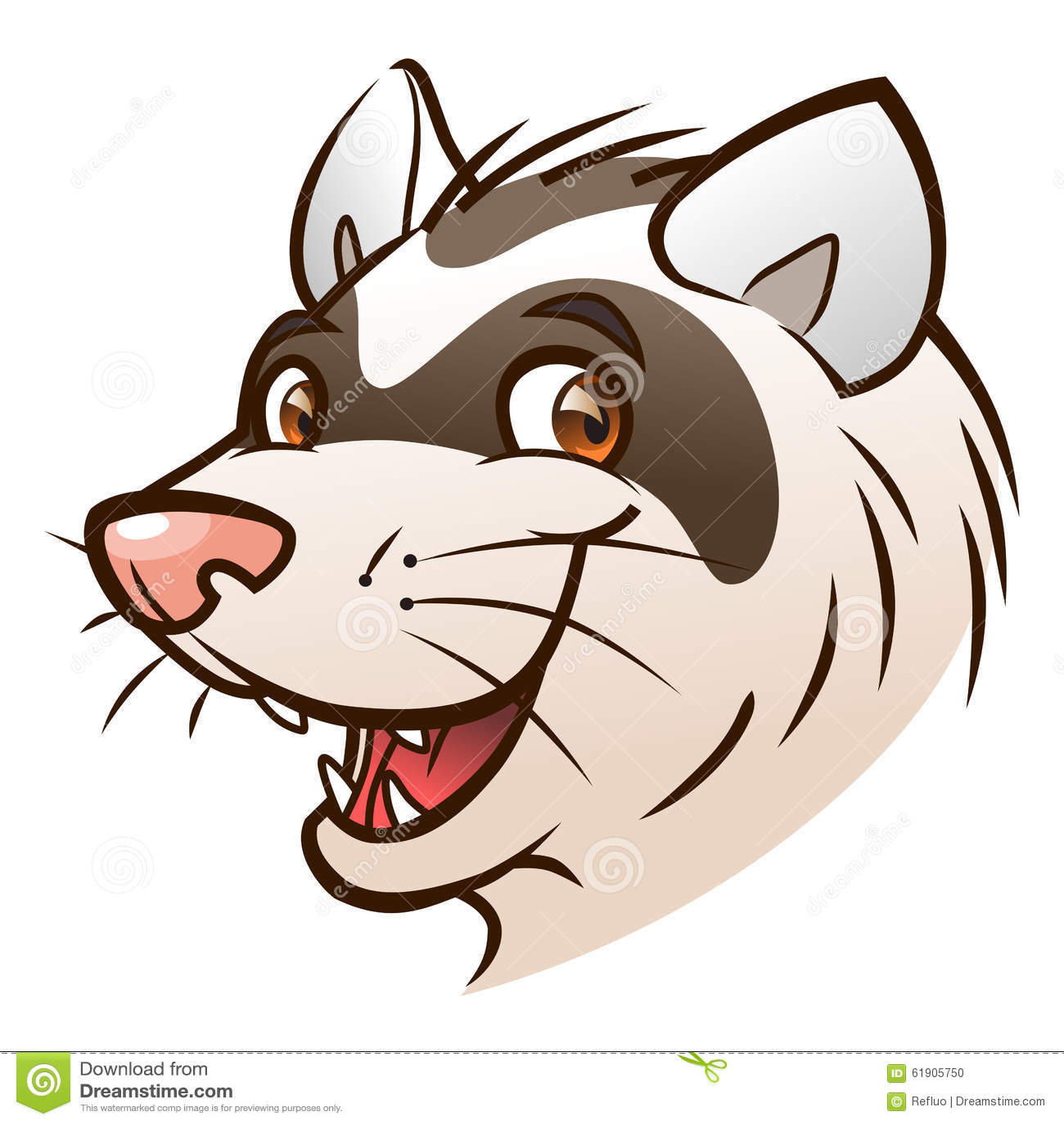 hight resolution of cartoon ferret head portrait of cartoon ferret on the white background royalty free illustration