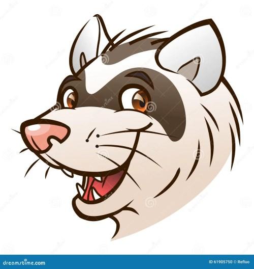 small resolution of cartoon ferret head portrait of cartoon ferret on the white background royalty free illustration