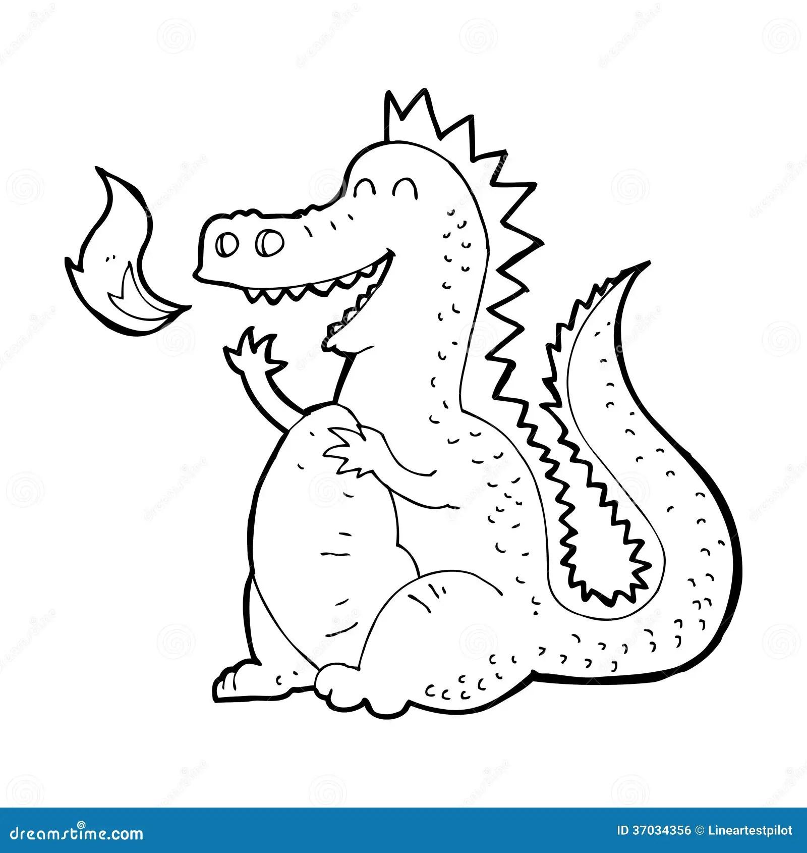 Cartoon Fire Breathing Dragon Royalty Free Stock Image