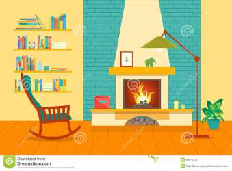 cartoon interior fireplace vector illustration preview
