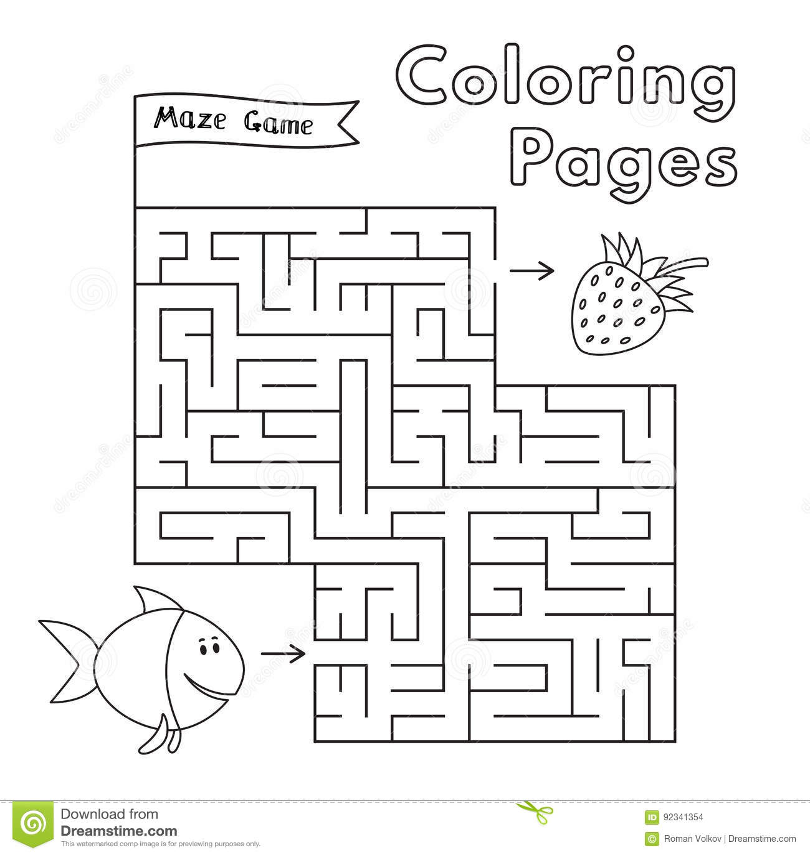 Cartoon Fish Maze Game Stock Vector Illustration Of