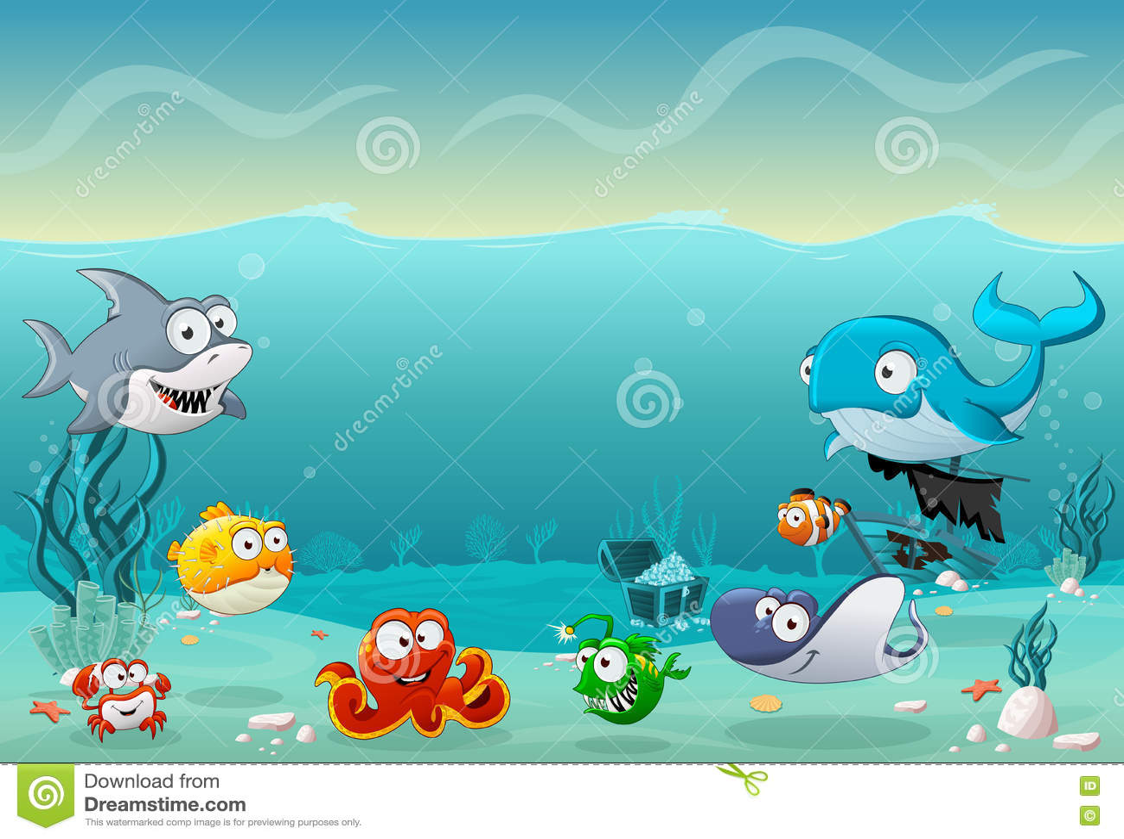 Cartoon Whale Under The Sea Vector Illustration