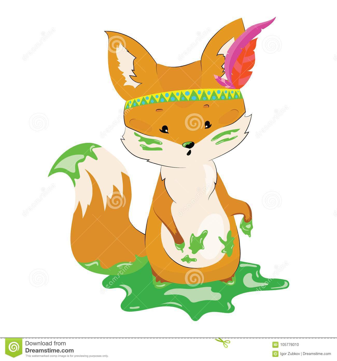 hight resolution of cartoon fox with an indian headdress made of feathers on his head lovely stylized fox