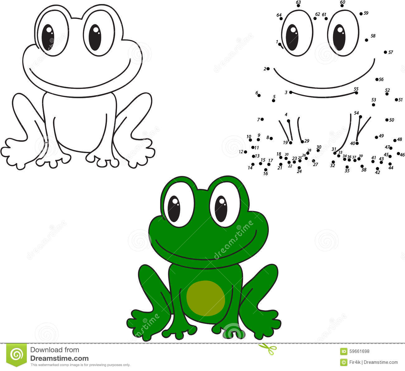 Cartoon Frog Vector Illustration Coloring And Dot To Dot