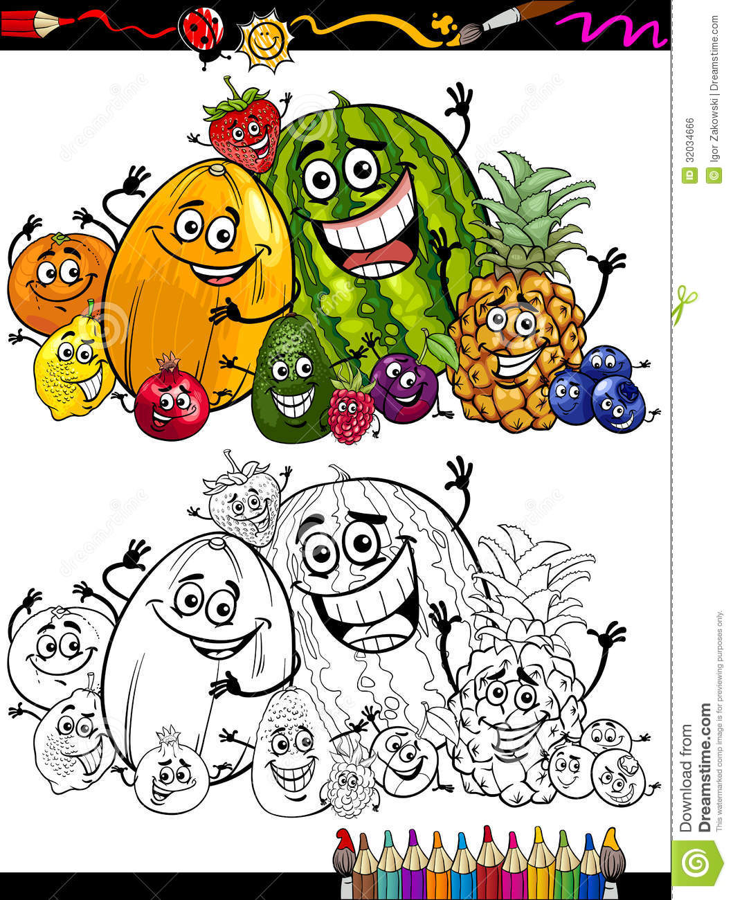 Cartoon Fruits Group For Coloring Book Stock Vector