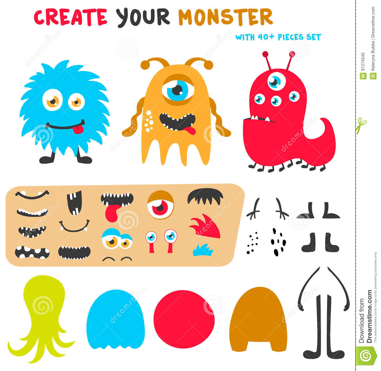Cartoon Funny Monsters Creation Kit Create Your Own