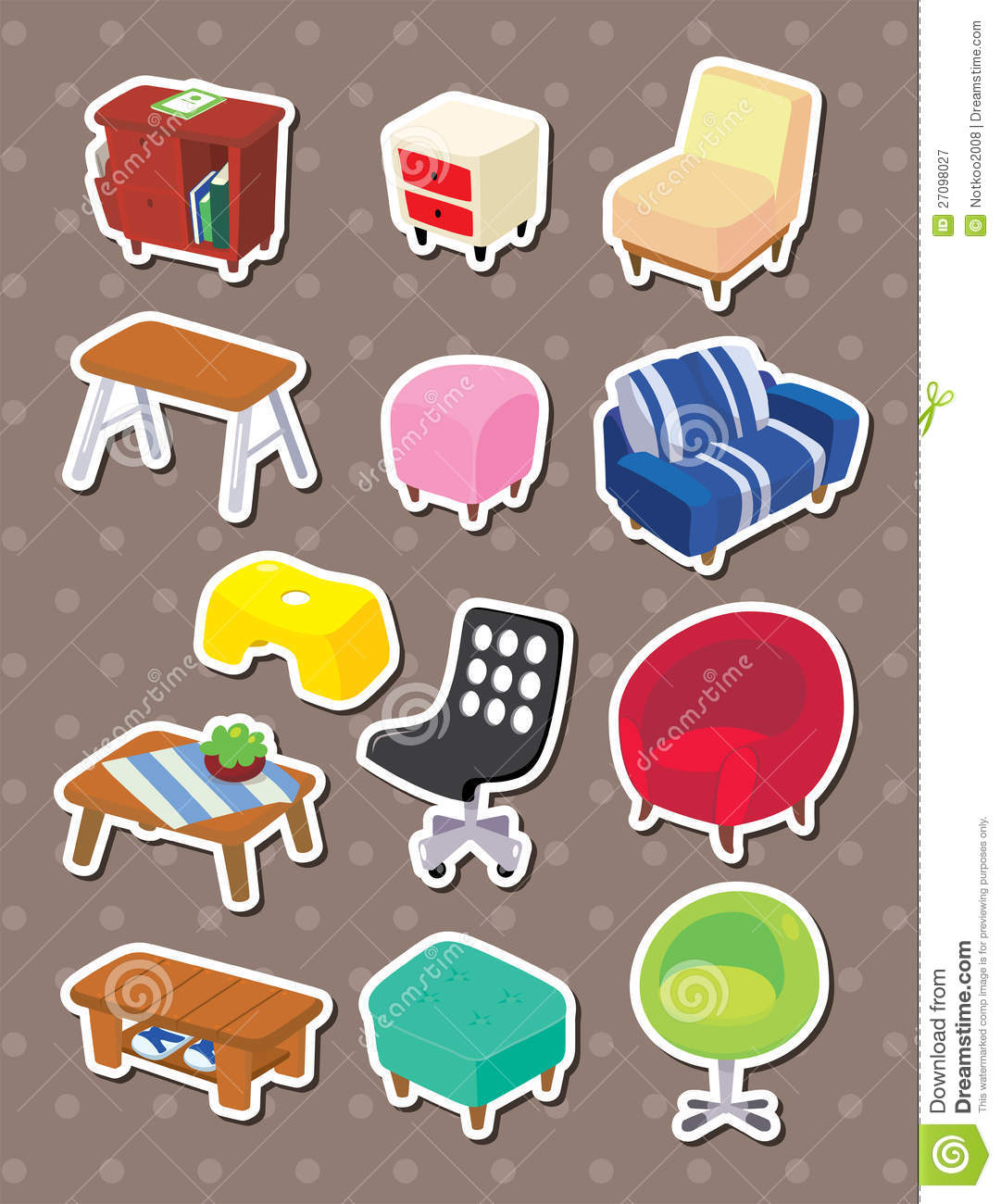 print sofa set steel come bed pictures cartoon furniture stickers royalty free stock photography ...
