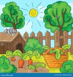 Cartoon Garden With Carrots Vector Illustration Stock Vector Illustration of carrot healthy: 91251745
