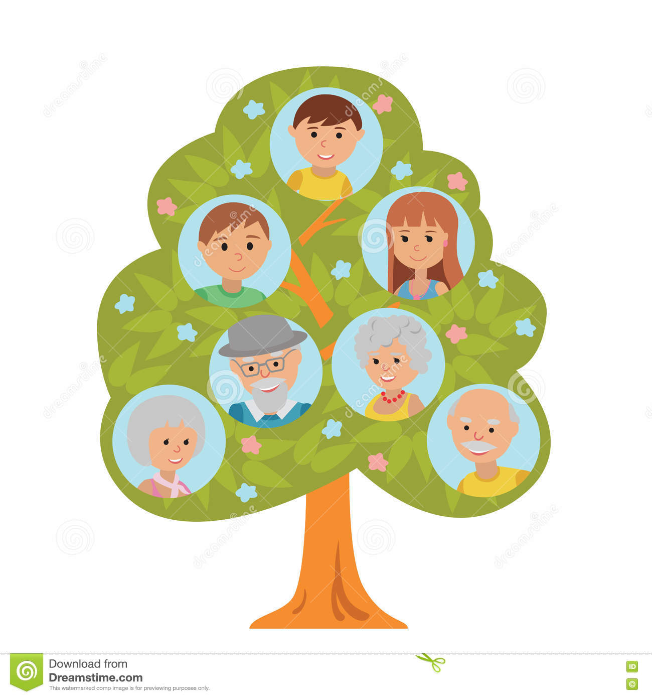 Cartoon Generation Family Tree In Flat Style Grandparents
