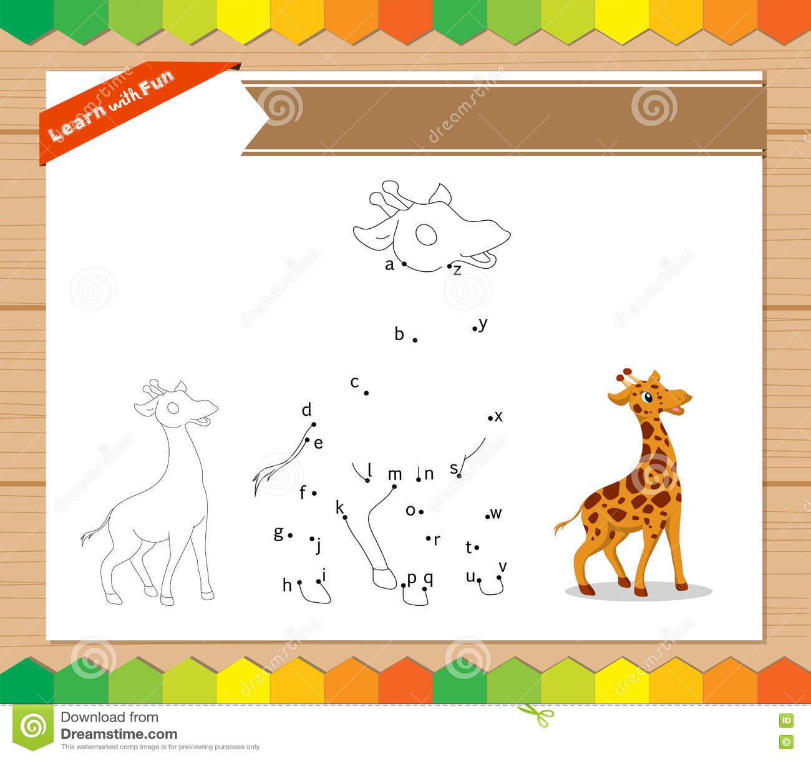 Cartoon Giraffe Dot To Dot Educational Game For Kids